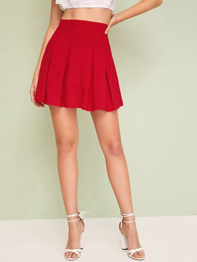 Solid Zip Back Skater Skirt