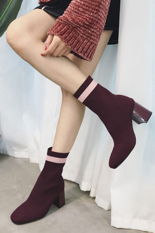 Dark Red Burgundy Square Toe Striped Chunky Heel Mid Calf Sock Boots
