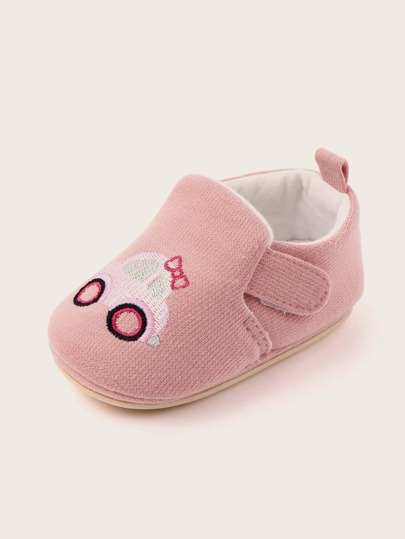 Baby Girl Cartoon Car Embroidered Flats