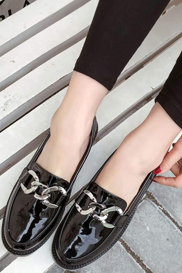 Black Leather Chain Detail Slip On Loafers