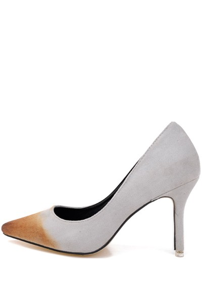 Light Gray Suede Pointed Toe Vintage Pump Heels