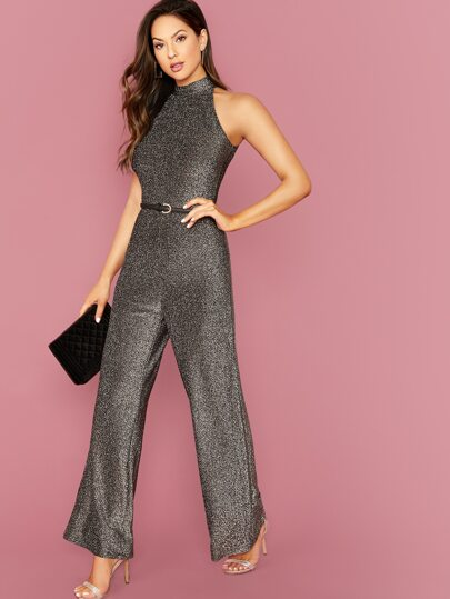 Wide Leg Glitter Halter Jumpsuit Without Belt