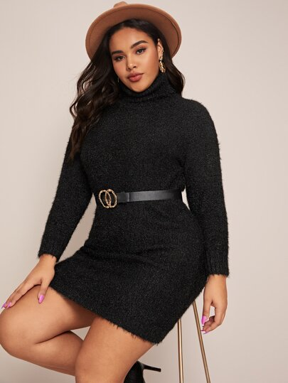 Plus Turtle Neck Fuzzy Sweater Dress Without Belt