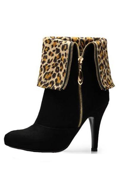 Black Leopard Lining Side Zip Fold Over Boots