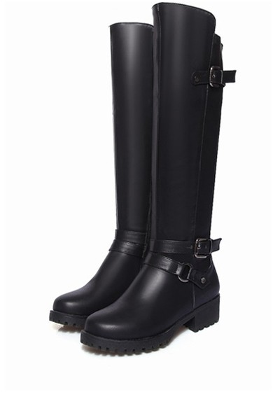 Pu Buckle Strap Knee High Riding Boots