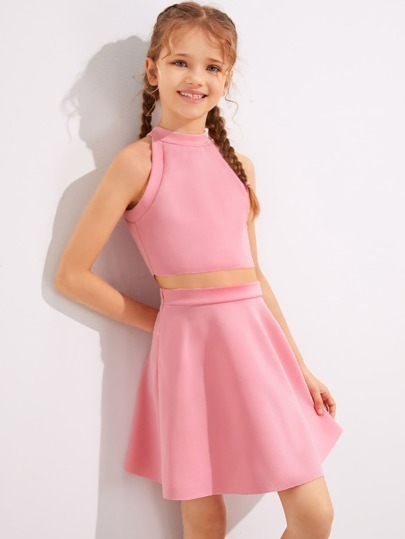 Girls Solid Halter Top & Skater Skirt Set