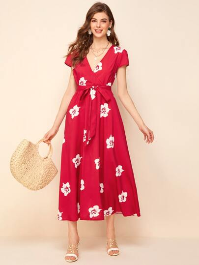 Floral Print Surplice Belted Midi Dress