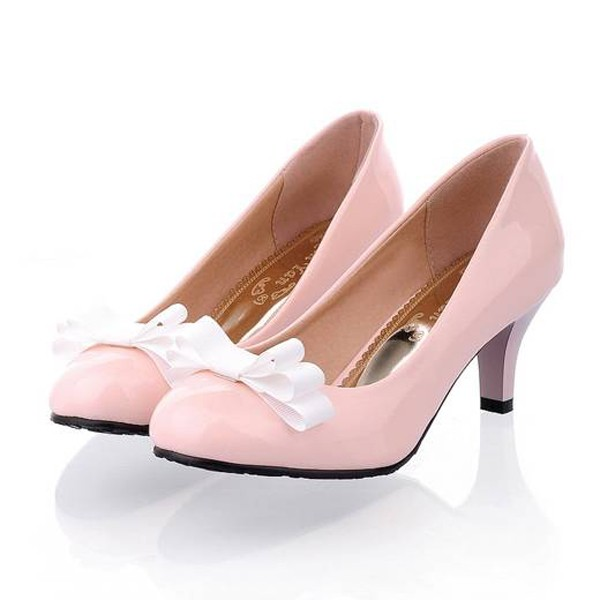 Faux Patent Leather Top Bow Decor Sweet Heels