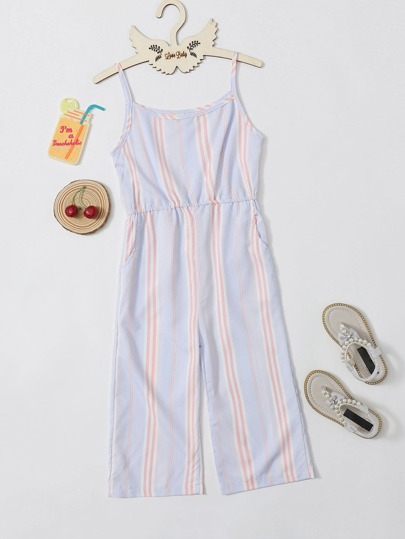 Toddler Girls Vertical Striped Wide Leg Cami Jumpsuit
