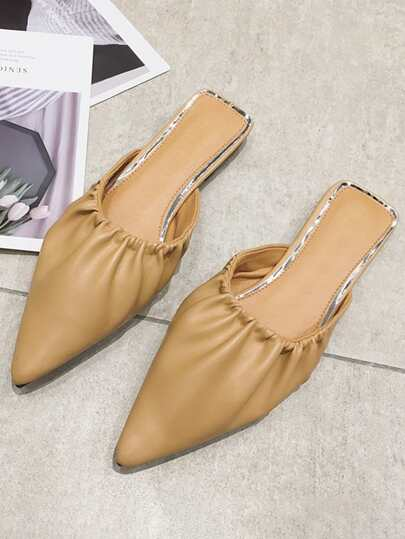 Point Toe Ruched Flat Mules