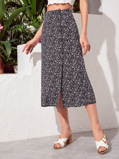 Ditsy Floral Button Front Straight Skirt