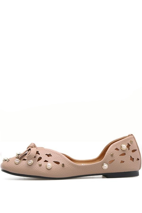 Nude Faux Pearl Decor Hollow Out Bow Decor Flats