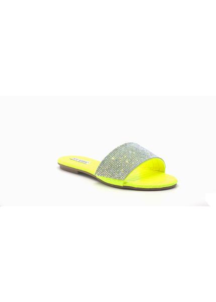 MUSCAT RHINESTONE WIDE BAND SLIP ON SLIDE SANDAL-LIME
