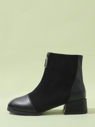 Zipper Front Block Heeled Suede Ankle Boots