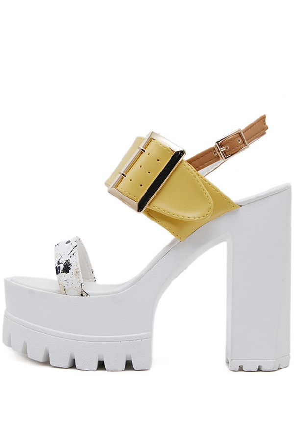 White Buckle Strap Open Toe Platform Chunky High Heels