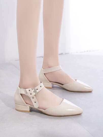 Point Toe Buckle Strap Flats