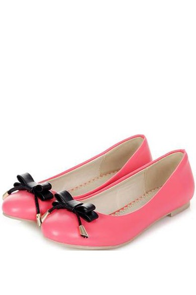 Faux Leather Pure Color Top Bow Decor Sweet Flats