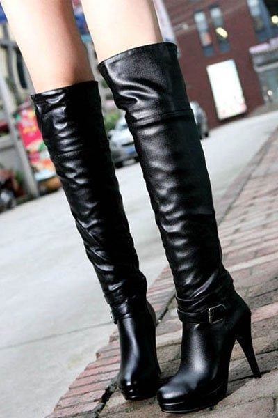 Black Pu Buckle Straps Side Zip Thigh High Boots