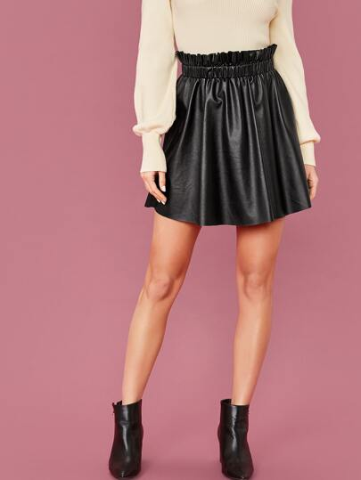 Frilled Waist Faux Leather Skirt