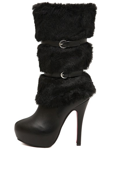 Black Faux Leather Buckle Faux Fur Boots