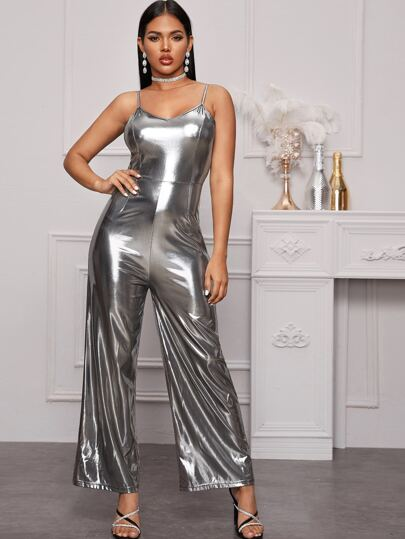 Metallic Wide Leg Cami Jumpsuit